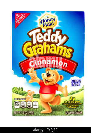 Winneconne, WI - 29 August 2015: Box of Teddy Grahams in cinnamon flavor - Stock Photo