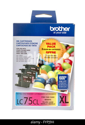Winneconne, WI -15 Oct 2015: Box of color ink cartridges made by Brother. - Stock Photo
