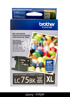 Winneconne, WI -15 Oct 2015: Box of black ink cartridge made by Brother. - Stock Photo