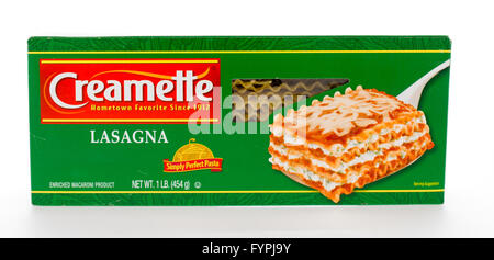 Winneconne, WI - 7 February 2015: Box of Creamette Lasagna which has been in business since 1912. - Stock Photo