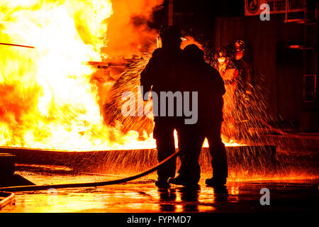 Firemen using water hose on raging fire - Stock Photo