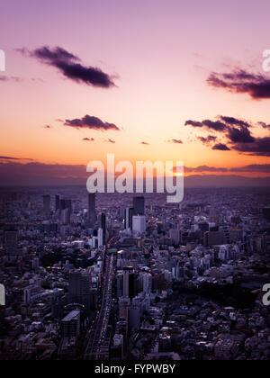 Cityscape, at sunset, Shibuya, Tokyo, Japan - Stock Photo
