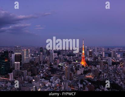 Tokyo Tower, cityscape, at dusk, Tokyo, Japan - Stock Photo