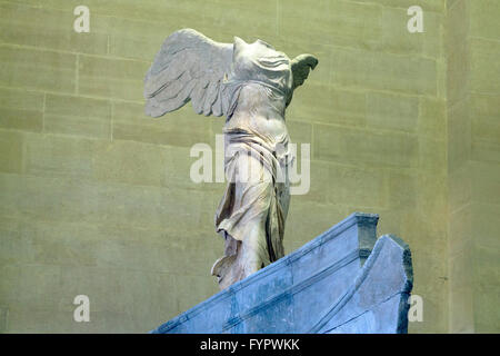 Winged Victory of Samothrace sculpture, 2nd Century BC,  Musee du Louvre, Paris France, Europe - Stock Photo