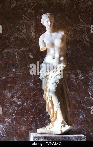Ancient Greek Statue of Aphrodite of Milos, Venus de Milo, 100 BC, by Alexandros of Antioch, Musee du Louvre, Paris - Stock Photo