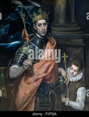St. Louis King of France with a Page, by El Greco, 1585-1590, Musee du Louvre, Paris France, Europe - Stock Photo