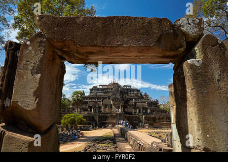 Causeway and Baphuon temple (11th century), Angkor Thom temple complex, Angkor World Heritage Site, Siem Reap, Cambodia - Stock Photo