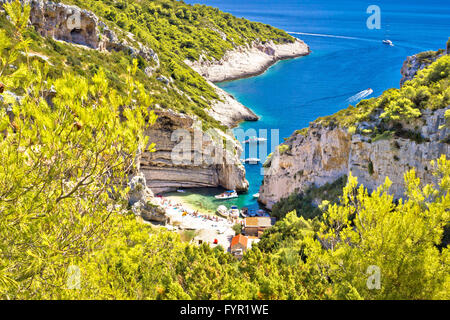 Amazing Stinva beach of Vis island - Stock Photo
