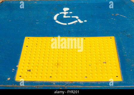 Disabled parking spot, sign painted on the floor, Balboa Park, San Diego, California, USA - Stock Photo