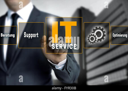 it service optimierung beratung (in german optimize support) help touchscreen is operated by businessman. - Stock Photo