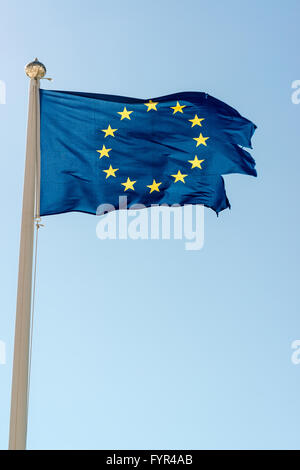 Rundown European Union Flag - Stock Photo