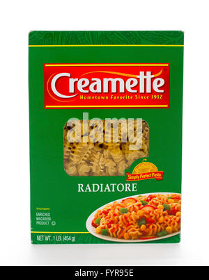 Winneconne, WI - 7 February 2015: Box of Creamette Radiatore which has been in business since 1912. - Stock Photo