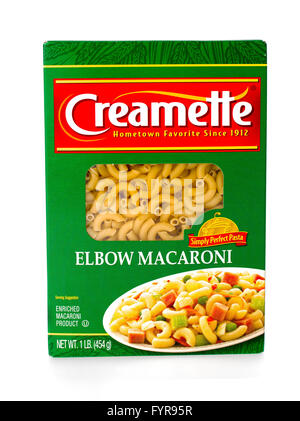 Winneconne, WI - 7 February 2015: Box of Creamette Elbow Macaroni which has been in business since 1912. - Stock Photo