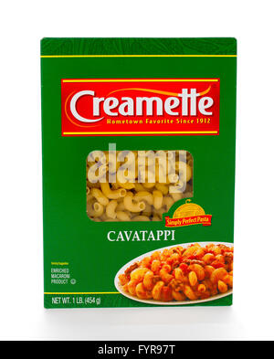 Winneconne, WI - 7 February 2015: Box of Creamette  Cavatappi which has been in business since 1912. - Stock Photo