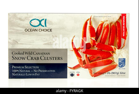 Winneconne, WI - 23 Dec 2015: Box of snow crab cluster legs from Ocean choice - Stock Photo