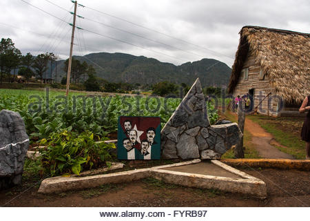 Cuban 5 Political shrine, secadore, traditional Cuban thatched-roof tobacco leaf drying hut. Veguero Centro Cultural - Stock Photo