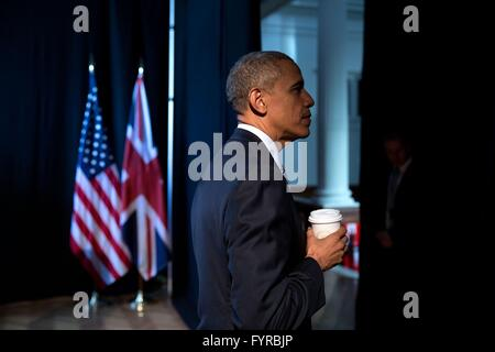 U.S President Barack Obama waits to take the stage for a town hall discussion at Lindley Hall April 23, 2016 in - Stock Photo