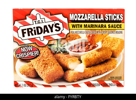 Winneconne, WI - 7 August 2015:  A box of T.G.I. Friday's mozzarella sticks. - Stock Photo