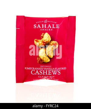 Winneconne, WI - 17 Feb 2016: Package of Sahale cashews in pomegranite vanilla flavor. - Stock Photo