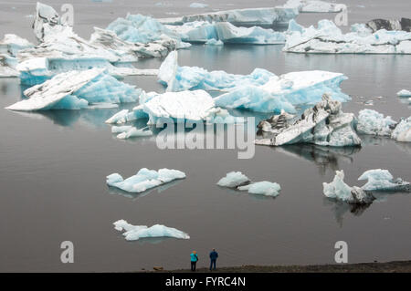 Blue icebergs,Jökulsárlón is a large glacial lake in southeast Iceland, on the edge of Vatnajökull National Park - Stock Photo