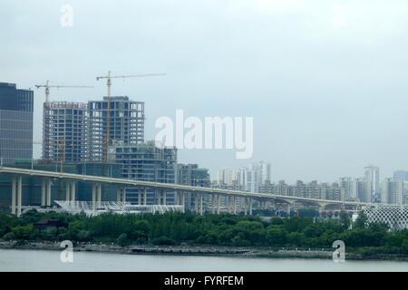 Bridge in the port city of Shanghai - Stock Photo