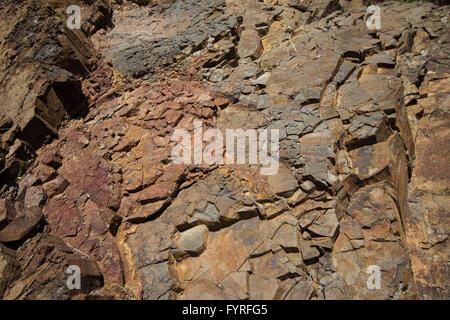 cracked stone texture closeup - rock crack - Stock Photo