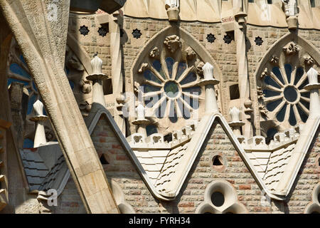 Detail of La Sagrada Familia - the impressive cathedral designed by Gaudi, which is being build since 19 March 1882. - Stock Photo
