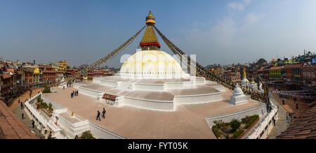 Boudhanath stupa panoramic view in Kathmandu, Nepal - Stock Photo