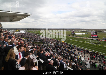 A huge crowd at the 2016 Grand National at AIntree Racecourse in Liverpool, UK. - Stock Photo