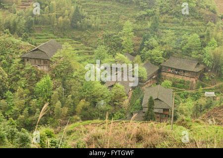 Traditional houses of the Yao minority near Ping'An, Guangxi Autonomous Region, China - Stock Photo