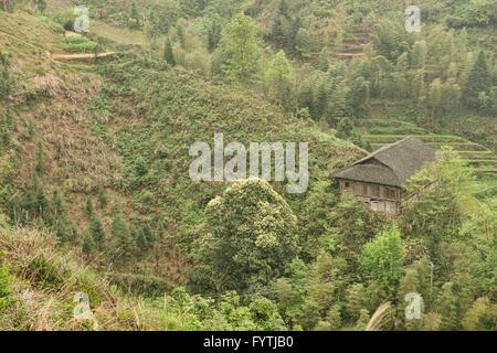 Traditional house of the Yao minority near Ping'An, Guangxi Autonomous Region, China - Stock Photo