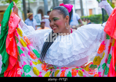 Street performer in Cartagena Colombia - Stock Photo