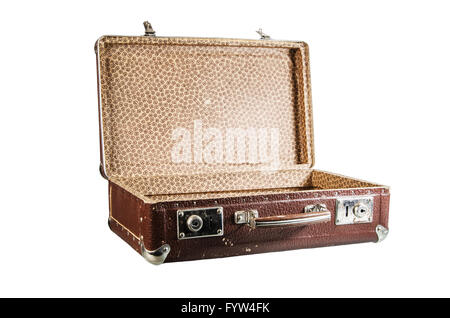 Old open cardboard suitcase, isolated - Stock Photo