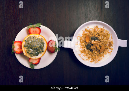 Breakfast with fruits and pancakes - Stock Photo