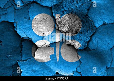 flag of OPEC painted on cracked wall - Stock Photo