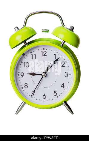 Green color clock isolated on a white - Stock Photo
