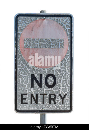 old no entry traffic sign with paint craquelure on white  background - Stock Photo