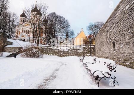 Bench   in the park winter Old Tallinn - Stock Photo