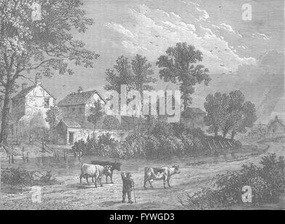 THE REGENT'S PARK: Farm in the Regent's Park, 1750. London, old print c1880 - Stock Photo