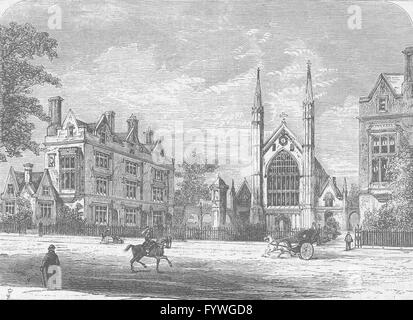 REGENT'S PARK: St.Katharine's Hospital (Den Danske Kirke). London, print c1880 - Stock Photo