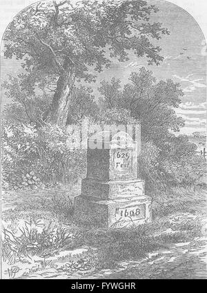 HOLLOWAY: Whittington's stone in 1820. London, antique print c1880 - Stock Photo