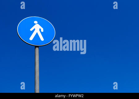 Sign pedestrian crossing - Stock Photo
