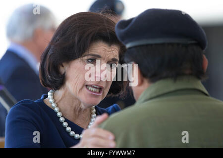 Luci Baines Johnson hugs Vietnam veteran Ignacio Perez during the second day of the Vietnam War Summit at the LBJ - Stock Photo