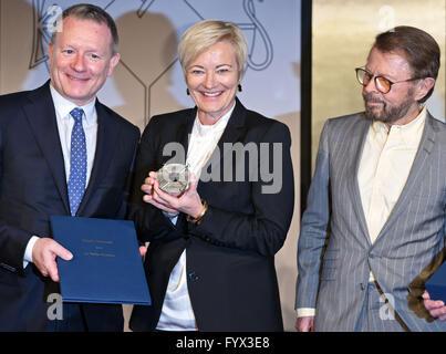 Aachen, Germany. 28th Apr, 2016. Jan-Ola-Sand (L-R), supervisor of the European Broadcasting Union, Ingrid Deltenre, - Stock Photo