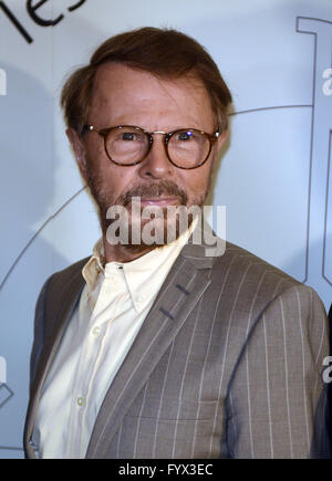 Aachen, Germany. 28th Apr, 2016. Musician Bjorn Ulaveus of Abba arrives for the Charlemagne Medal award ceremony - Stock Photo