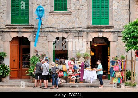 Old part of town, Valldemossa, Mallorca, Spain / souvenir shop - Stock Photo