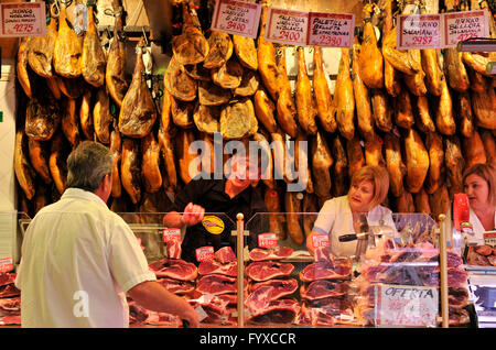 Serrano ham, market hall, Mercat de L'Oliver, Palma de Mallorca, Mallorca, Spain - Stock Photo