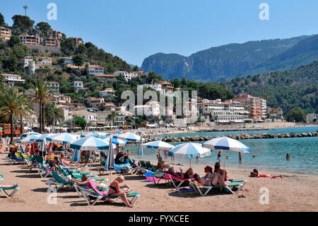 Beach, Port de Soller, Mallorca, Spain / sunshades - Stock Photo