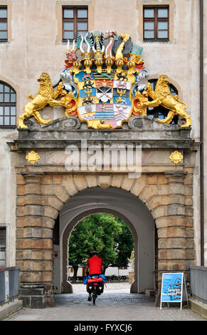 Coat of arms, castle Hartenels, Torgau, Saxony, Germany - Stock Photo