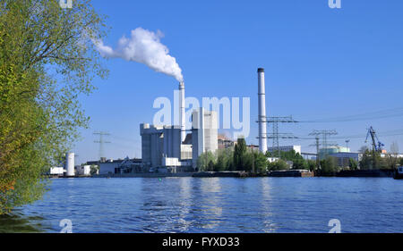 Vattenfall generating station Klingenberg, Spree, Rummelsburg, Lichtenberg, Berlin, Germany / Vattenfall Kraftwerk - Stock Photo